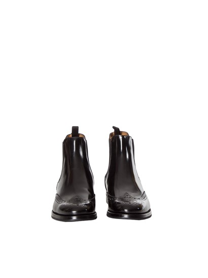 Black leather boots, side elastic bands, top-stitching detail, rubber sole. - Church's - LEATHER BOOTS