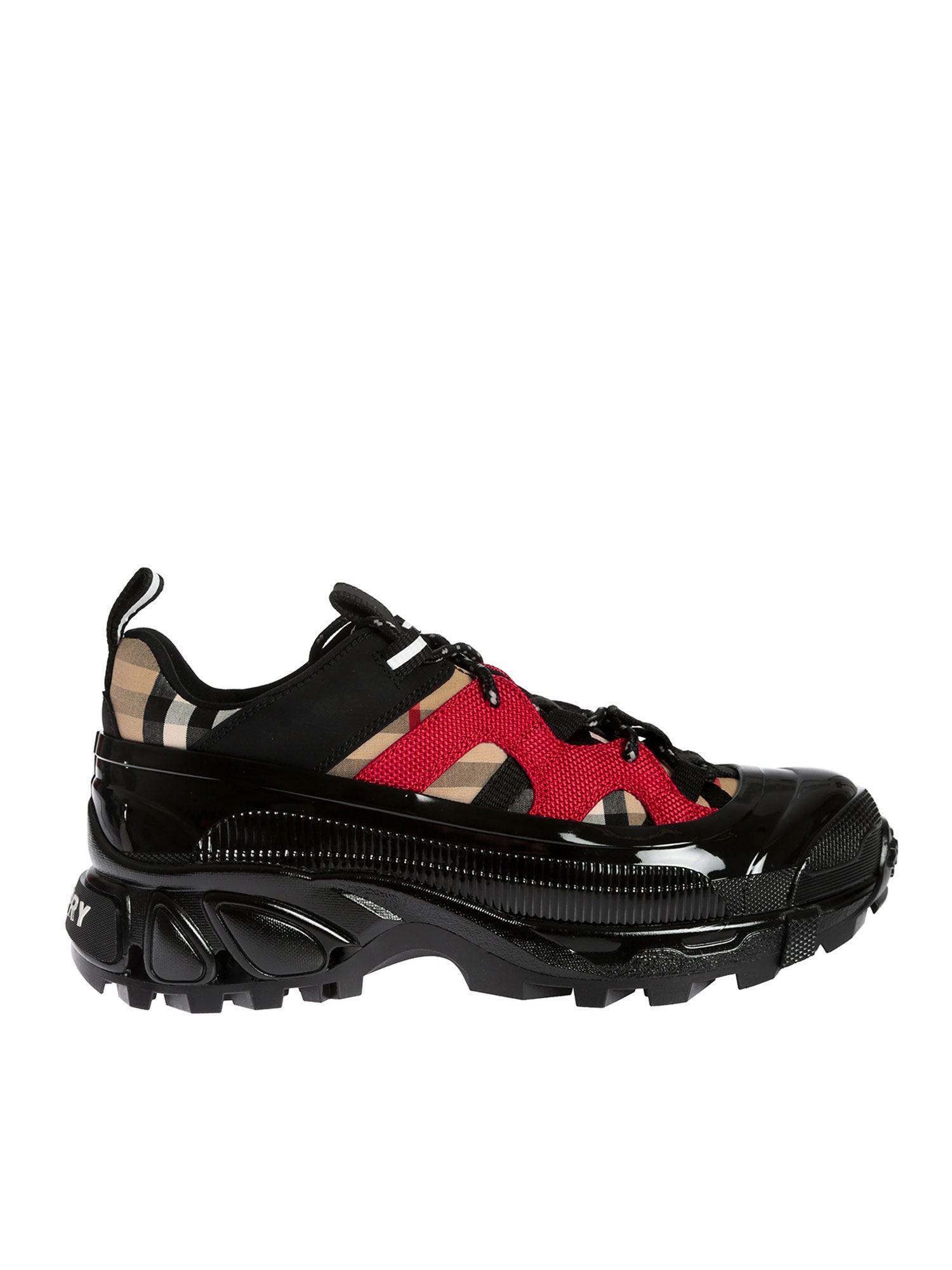 【意大利直发】BURBERRY 博柏利 女士黑色复古格纹运动鞋