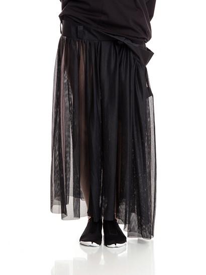 Black tulle skirt, white stripes detail on the side, front pocket.  - Y-3 Yohji Yamamoto - TULLE SKIRT