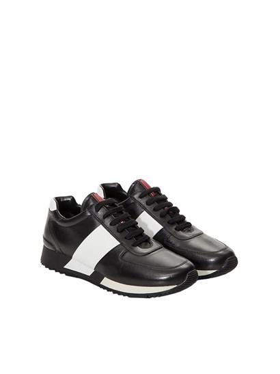 Black lambskin sneakers with rubber sole. - Prada Sport - leather sneakers