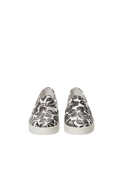 Leather slip on shoes with white and black floreal fantasy, sides elastics, white sole. - Prada Sport - SLIP ON  SHOES