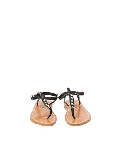 Black leather sandals with studs detail and ankle strap closure. - K.JACQUES - leather sandals