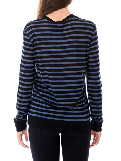 Black and purple striped top with long-sleeves. - Alexander Wang - Striped top
