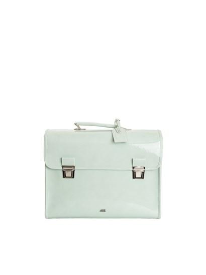 Shoulder straps, adjustable shoulder strap and plate. - Escudama - School bag in water green varnish