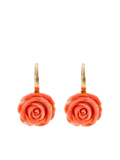 18 kt yellow gold earrings with natural coral and fish hook fastening. - Collezione Capri - yellow gold earrings
