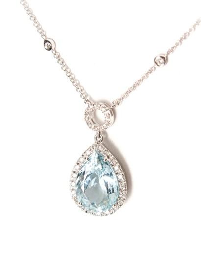 necklace in 18kt white gold with aquamarine and diamond. - Collezione Gold Venezia - white gold neckless