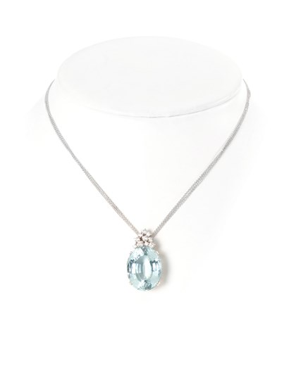 18 kt white gold necklace, 3 rolò chains with aquamarine and diamonds. - Collezione Gold Venezia - white gold neckless