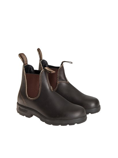 Dark brown leather boots, visible stitching, side elastic bands, rubber sole. - Blundstone - Leather boots