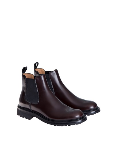 Brown brushed leather boots, black elastic bands, leather and rubber sole. - Church's - Chelsea boots
