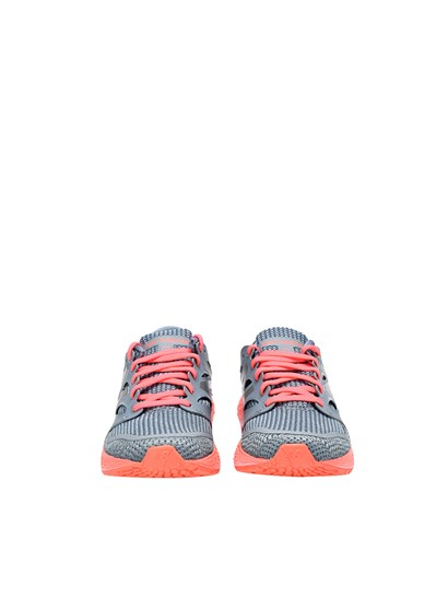 Gray canvas sneakers with orange sole and laces. - New Balance - Running sneakers