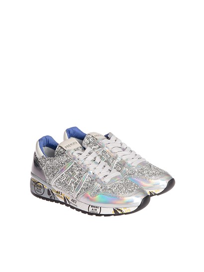 Silver coloured leather sneakers with holographic effect, rhinestones insert, rubber sole. - Premiata - Diane sneakers