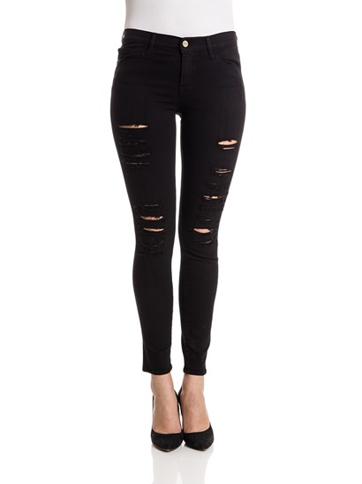 Black cotton 5 pockets jeans with tears, zip and button closure. - FRAME - le color ripped jeans