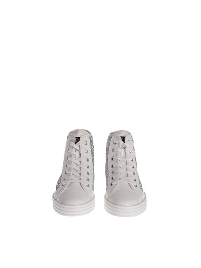 White patent leather sneakers, silver glitter inserts, rubber sole. - Hogan Rebel - Leather sneakers
