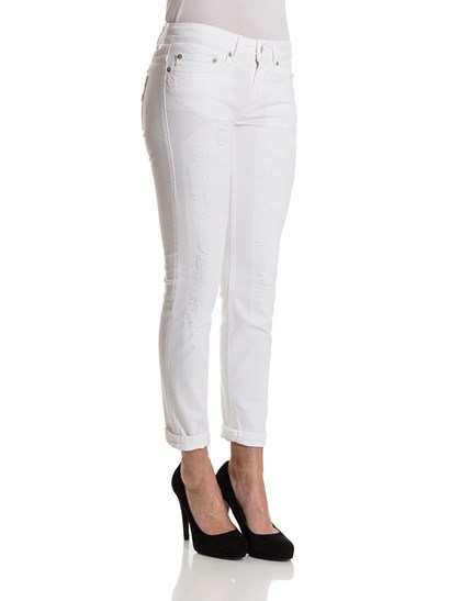 White 5 pocket cotton jeans with vintage effect, button and zip closure. - Dondup - Monroe jeans