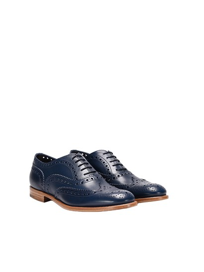 Blue brushed leather oxford shoes with dovetail stitching, pierced details, leather sole. - Church's - Leather oxford shoes