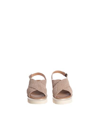 Beige suede woven suede, lurex effect, strap closure, rubber sole. - Pons Quintana - Asia sandals