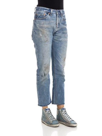 Light blue cotton jeans, medium stone washed, spots of color, buttons closure. - Levi's - 5 pocket jeans