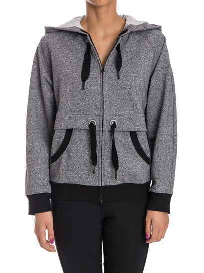 Black and white cotton blend sweatshirt, drawstring on waist and on hood, black ribbed edges, front closure with double slider zip. - ADIDAS Stella McCartney - Ess Hoodie