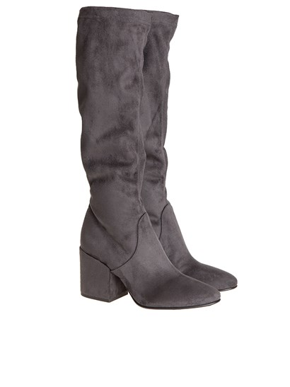 Gray eco leather boots, chunky heels. - Strategia - Boots