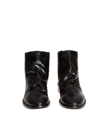 Black leather ankle boots, reptile skin effect, back zip closure. - Strategia - Jenny ankle boots