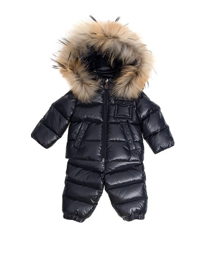 dark blue padded suit. Down jacket with detachable hood, side slit pockets, elastic wristsband, removable fur insert. Pants with waist and ankles elastic band, removable suspenders. - Moncler Jr - Remy padded suit