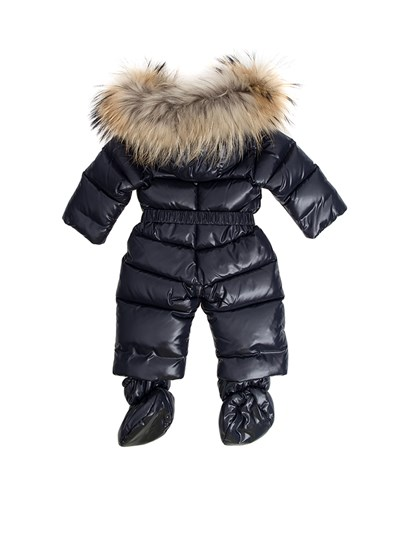 Shiny blu padded suit, removable hood with fur insert, waist belt, removable feet, zip closure. - Moncler Jr - Crystal padded suit