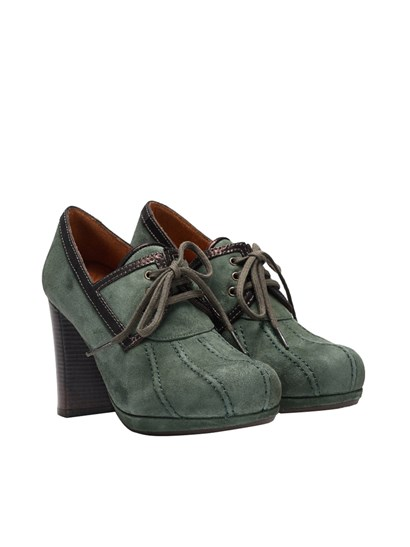 Green suede shoes with leather trims, chunky heel, lace-up closure, rubber sole. - Chie Mihara - Laila shoes