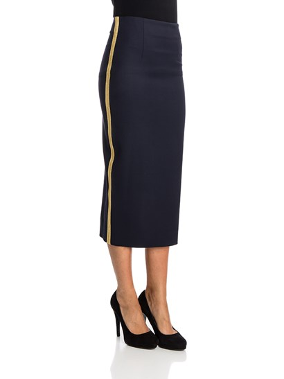 Blue wool pencil skirt, golden trimmings side insert, back rip, rear hidden zip closure. - Parosh - Lilyxy skirt