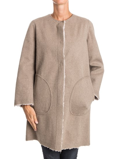 Beige fur and melange beige wool bland reversible coat, side slit pockets, inner patch pockets, snap buttons closure. - Simonetta Ravizza - Reversible fur