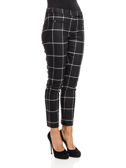 Black wool blend pants, white checked pattern, welt pockets, zip, buttons and hook closure. - True Royal - Wool blend pants