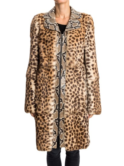 Fur coat in shades of brown, animal print, reptile effect leather inserts, side pockets, inner adjustable shoulders, double slider zip closure. - Maison Margiela - Fur coat