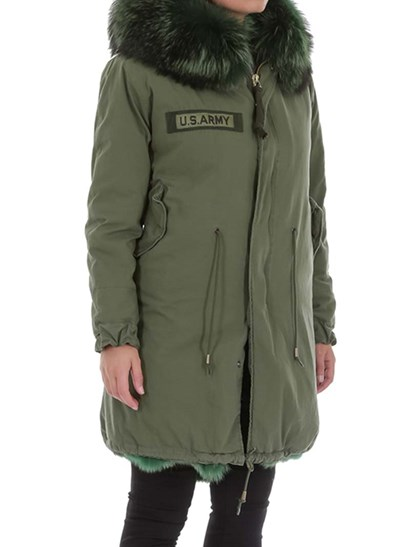 Green hooded parka, green fur interior, side flap pockets, drawstring waist and bottom, embroidered detail on the chest, zip and snap buttons closure. - AS 65 - Hooded Parka