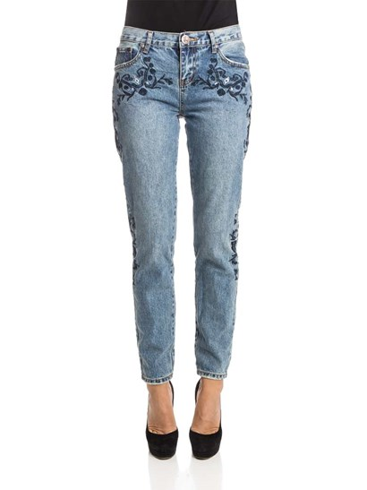 Blue cotton Jeans, dark blue floral embroidery, medium stone washed, 5 pockets, zip and button closure. - ONETEASPOON - Blue Muse Lola AWE Jeans
