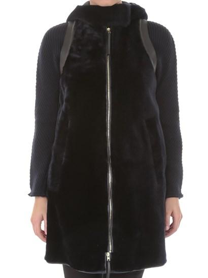 Black hooded fur waistcoat, side slit pockets, leather inserts, zip closure. - MARNI - Fur Waistcoat