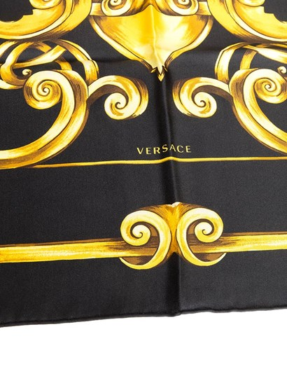 Silk Scarf Colour: black Golden print - Versace - Squared scarves