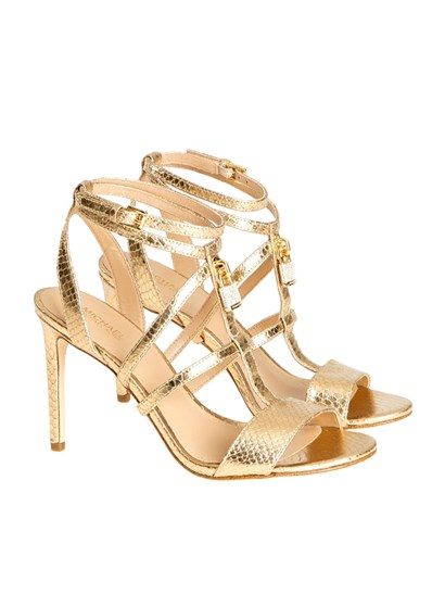 Reptile effect leather sandals Color: gold Metal detail with rhinestones Rubber sole Strap closure - Michael Kors - Antoinette sandals