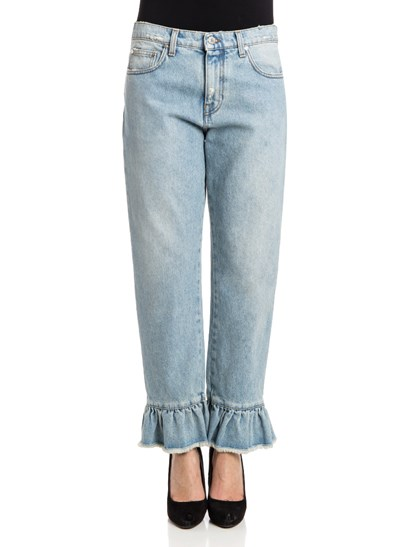 Cotton jeans Color: light blue Light stone wash Fringed bottom with ruffles Zip and button closure - MSGM - Cotton jeans