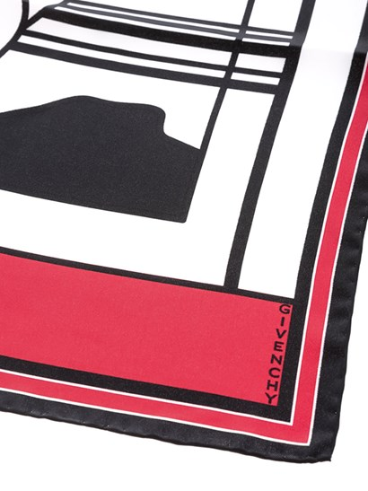 Silk foulard Colour: black and red White print   - Givenchy - Square foulard