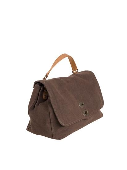 Canvas bag Color: brown Inner pockets Brown leather removable and adjustable shoulder strap  Interlocking closure Metal feet  - Zanellato - Postina L bag