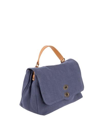 Canvas bag Color: blue Inner pockets Brown leather removable and adjustable shoulder strap  Interlocking closure Metal feet  - Zanellato - Postina L bag