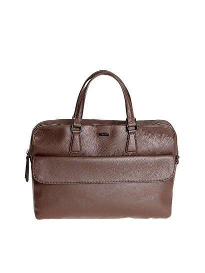 Hammered leather bag Color: brown Inner pockets External flag pocket Removable and adjustable shoulder strap Metal zip closure Metal feet - Zanellato - Fredo bag