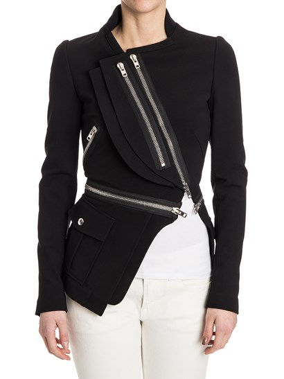 Jacket Colour: black Wool ribbed collar Removable bottom with zip Snap button patch pockets Metal zip asymmetric closure - Givenchy - Jacket