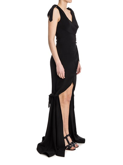 Long dress Colour: black Flakes detail Front drapery Side hidden zip closure  - Moschino - Long Dress