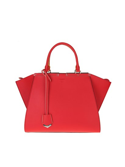 Leather bag Color: red Silver metal details Removable charm Removable adjustable shoulder strap Zip closure - Fendi - 3jours shopping bag