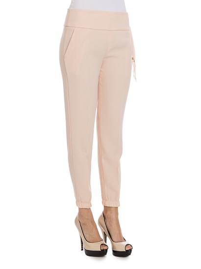 Trousers Color: light pink Side slit pockets Elastic on the bottom Side tape detail Rear zip and hook closure - ELISABETTA FRANCHI - Trousers