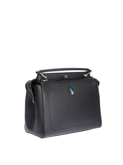 Leather bag Color: black Silver metal details Two inner compartments Zip partition Inner pockets Light blue leather removable inner clutch Removable shoulder strap Zip closure - Fendi - Dotcom handbag