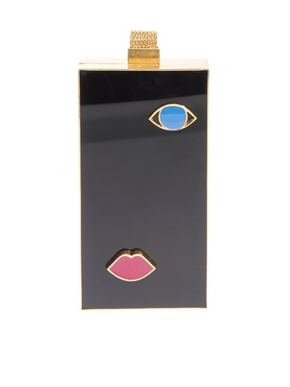 Rigid clutch Color: black Golden metal details Blue and pink inserts Metal handle Magnetic closure - LULU GUINNESS - Ettie clutch