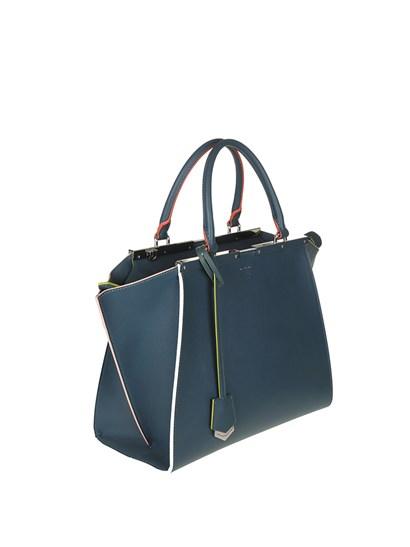 Leather bag Color: blue Multicolor trims Silver metal details Inner pockets Removable charm Removable adjustable shoulder strap Zip closure - Fendi - 3jours handbag