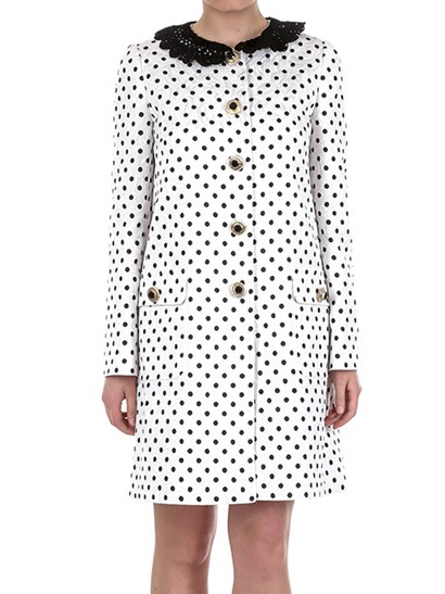 Cotton blend coat Color: white  Black polka dots pattern Front patch pockets Black tricot collar detail Jewel buttons closure - Dolce & Gabbana - Single-breasted coat