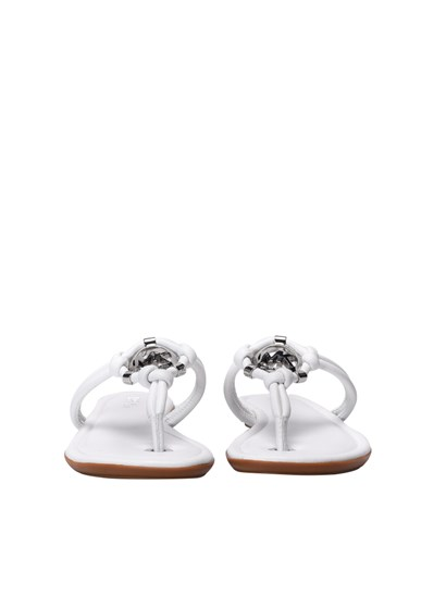 Leather flip flops Color: white Metal logo detail Rubber sole - Michael Kors - Kinley Thong flip flop